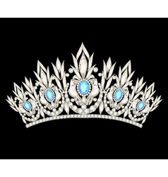 Tiara crown womens wedding with a light blue stone vector
