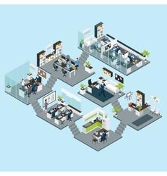 Office isometric different floors vector