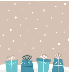 Retro christmas snowing background with gifts vector