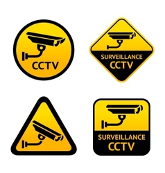 Video surveillance set stickers vector image
