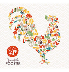 Chinese new year of the rooster 2017 greeting card vector