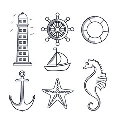 set icons sea isolated vector image