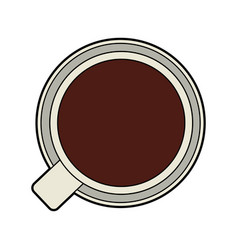 Colorful silhouette top view cup of coffee vector