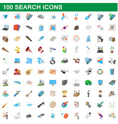 100 search icons set cartoon style vector