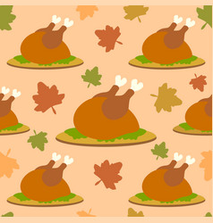 Thanksgiving seamless background with cooked turke vector