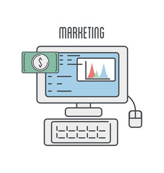 Technology computer with statistic marketing vector