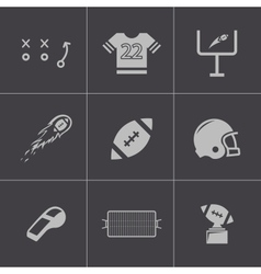 Black football icons set vector