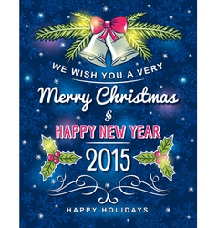 Blue christmas card with decorative ornament vector