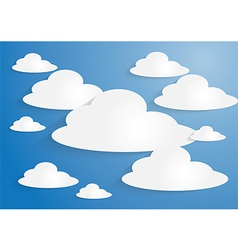 White paper clouds on blue sky background vector