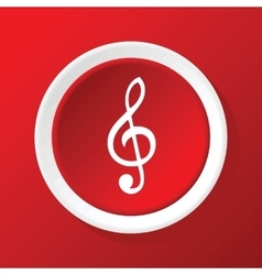 Treble clef icon on red vector