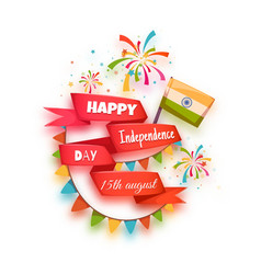 Happy independence day banner india red ribbon vector