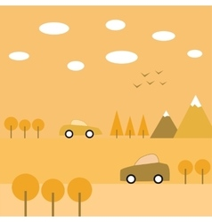 Autumn journey by car and boat vector