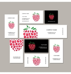 Business cards collection raspberry design vector image