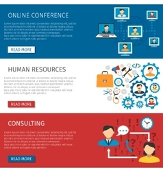 Human resources management flat banners set vector