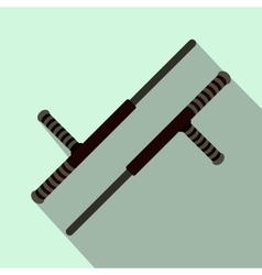 Tonfa weapon flat icon vector