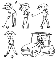 Doodle golf players set vector