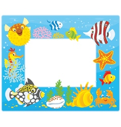 Frame with tropical fishes vector