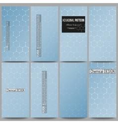 Set of modern flyers chemistry pattern hexagonal vector