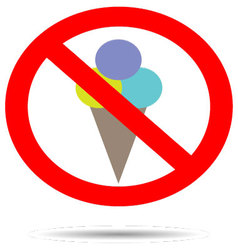 Ban ice cream sign vector image vector image