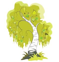 Birch Cartoon Tree Isolated On White vector image