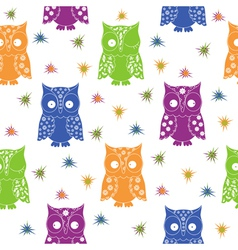 Colourful owl and stars seamless pattern vector image