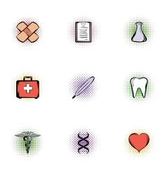 Doctoral icons set pop-art style vector