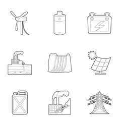 Energy resource icons set outline style vector