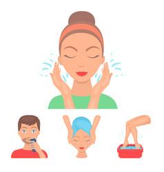 Face massage foot bath shaving face washing vector