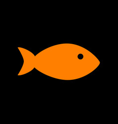 Fish sign orange icon on black vector