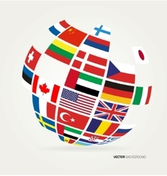 Flags of the world in globe vector image