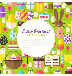 Flat happy easter pattern background vector