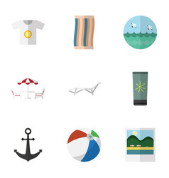 Flat icon beach set of deck chair clothes ocean vector