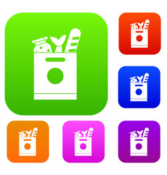 Grocery bag with food set collection vector