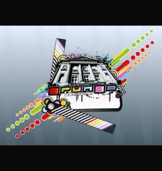 grunge rainbow palace vector image vector image