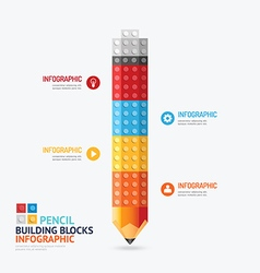 Infographic Template with pencil shape building vector image