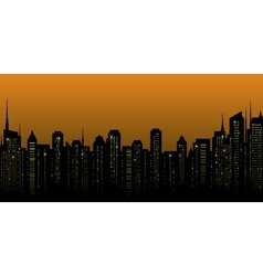 night city landscape and many skyscrapers vector image