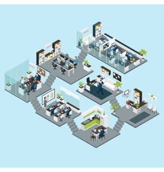 Office Isometric Different Floors vector image