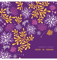 Purple and gold underwater plants corner frame vector