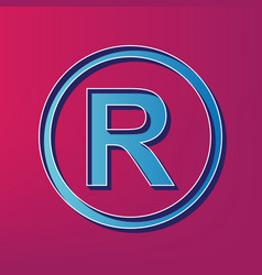 Registered trademark sign blue 3d printed vector