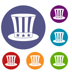 Uncle sam hat icons set vector