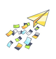 yellow paper plane and flying color paper vector image vector image