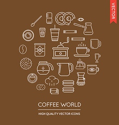 Set of coffee modern flat thin icons inscribed in vector