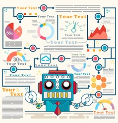 Infographic robot standing confidently of graph vector image