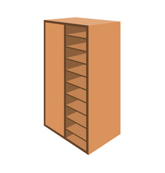 A brown wooden bookcase with many books on its vector