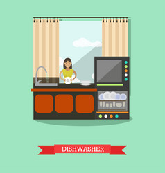 Dishwasher in flat style vector