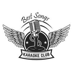 Karaoke club label template emblem with vintage vector