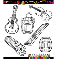 Objects cartoon set for coloring book vector