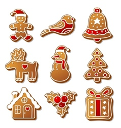 Set of christmas ginger breads for your design vector