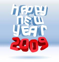 happy 3d new year vector image
