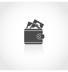 Wallet with money icon vector
